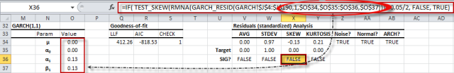 cells formula in cells of the Residuals diagnosis (part of the GARCH model) references model's parameters and input data