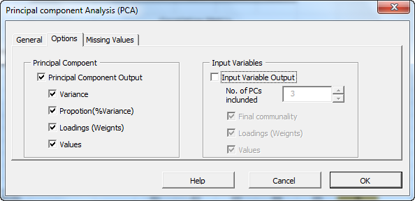 Options tab in NumXL principal component analysis dialog or Wizard in NumXL