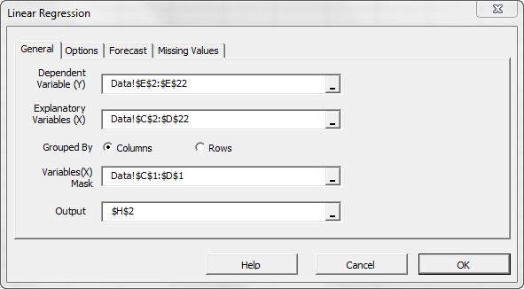 The general tab in NumXL regression wizard showing the input data selection and the input variables mask