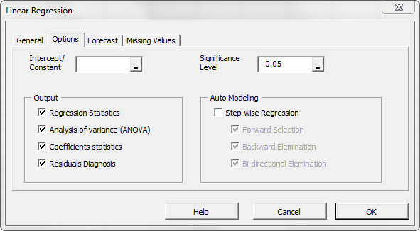 The options tab in NumXL regression Wizard or dialog