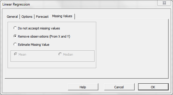Missing values tab in NumXL regression wizard or dialog