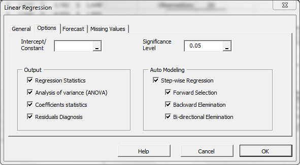 Options tab in NumXL regression wizard showing the stepwise regression enabled